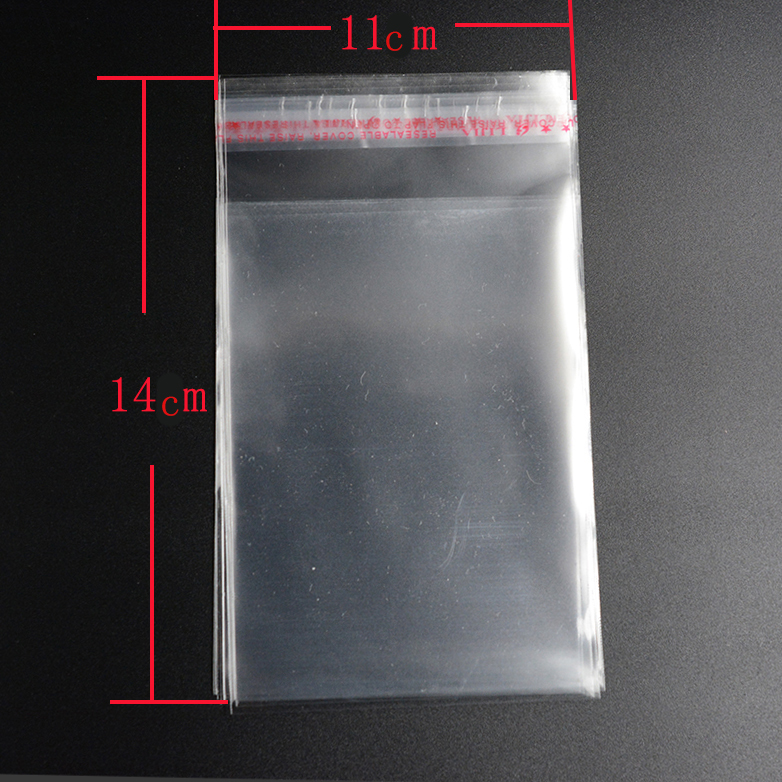 2017 E4 Clear Resealable Cellophane/BOPP/Poly Bags 14x11cm Transparent Opp Bag Packing Plastic Bags Self Adhesive Seal