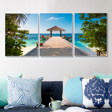 Laeacco 3 Panel Tropical Palm Tree Sea View House Posters and Prints Nordic Wall Art Canvas Painting For Living Room Home Decor