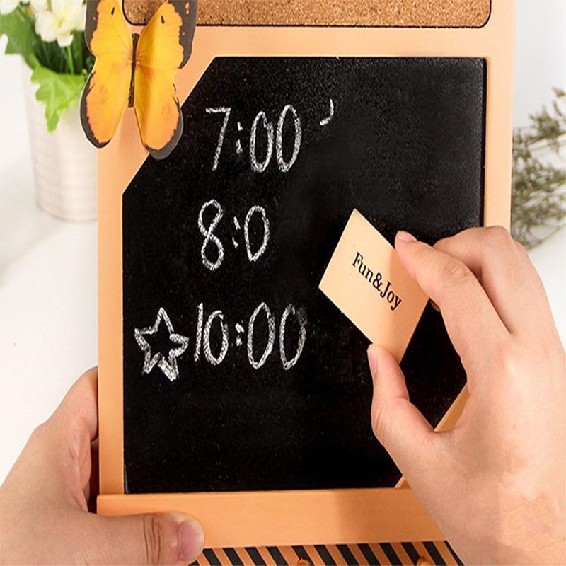 Retro Hanging Wooden Small Blackboard Creative Wordpad Message Board DIY Cork Board Home Decoration Photo Wall With Note Pad