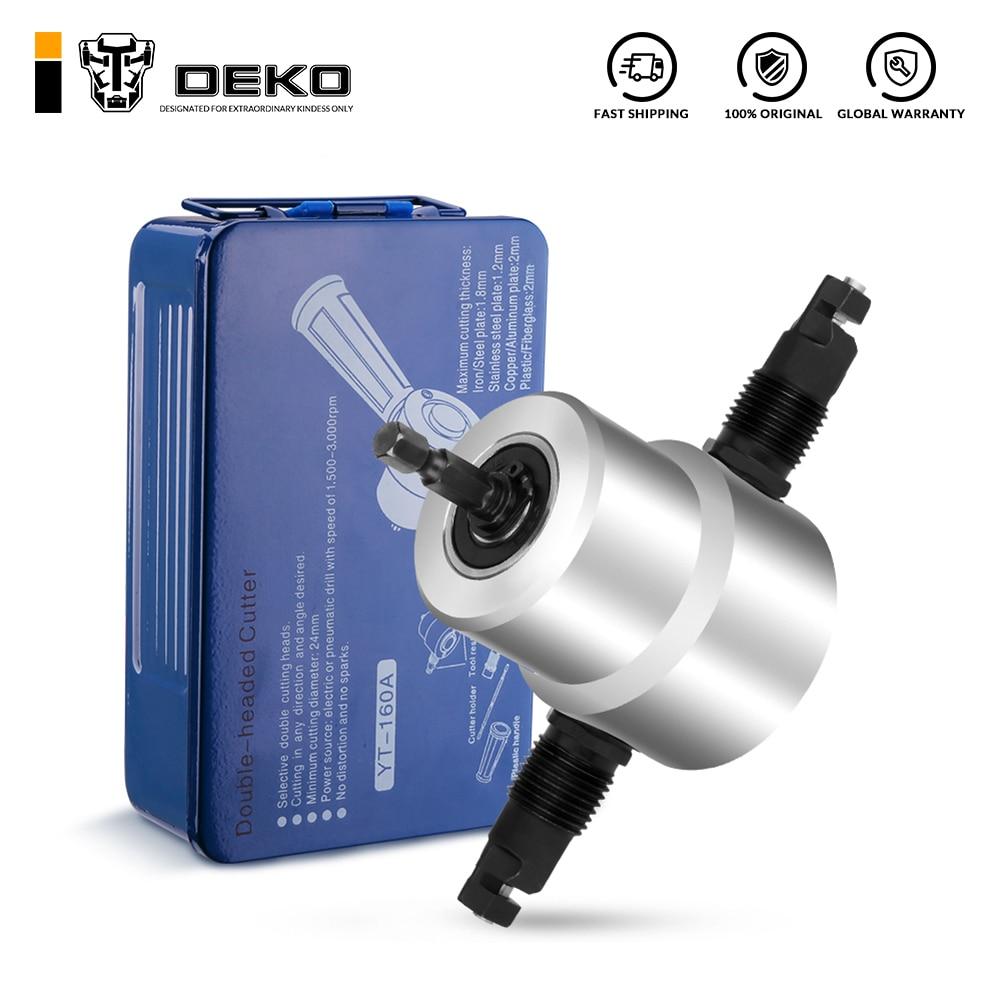 DEKO Double Head Sheet Nibbler Metal Cutter ,Saw Cutter Tool  Drill Attachment Metal Nibbler Tool Kit with Wrench, Nibbler PartsPower Tool Accessories   -