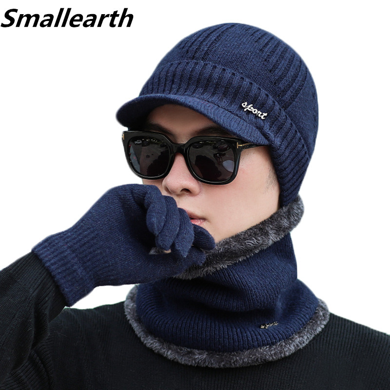 Winter Beanie Hat Sets For Men Women Warm Scarf Hat Gloves Suit Unisex 3Pcs Set Male Female Hat Scarf Set 3Pcs Men Beanies Hats