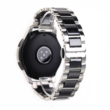 Bracelet en céramique de montre, en acier inoxydable, argent de sport, samsung gear, gear s3 s2, galaxy, 20mm 22mm