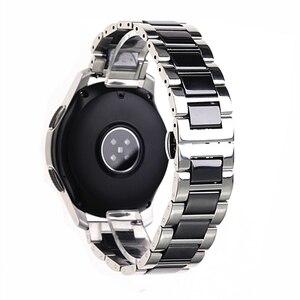Image 1 - ステンレス鋼シルバーセラミック腕時計ブレスレットサムスンギアスポーツ腕時計ストラップギアs3 s2バンド銀河時計バンド20ミリメートル22ミリメートル