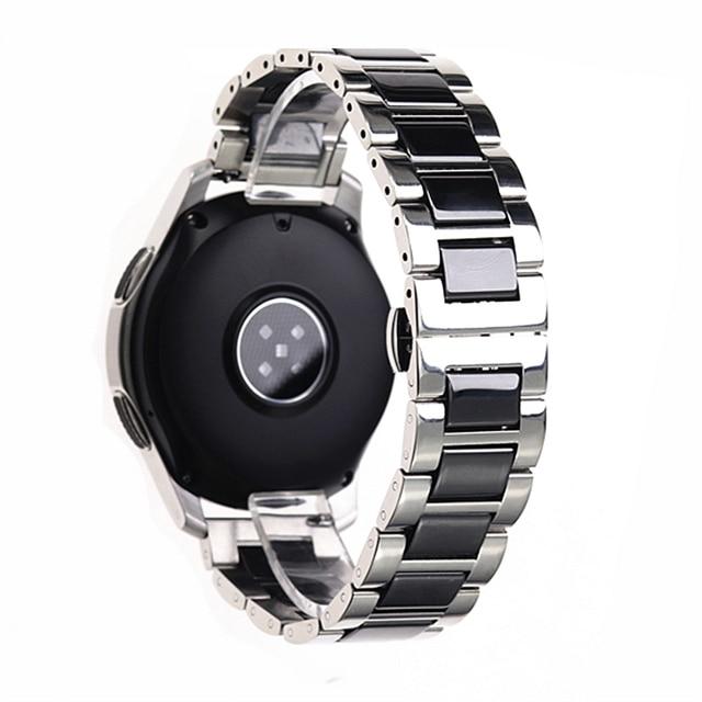 ステンレス鋼シルバーセラミック腕時計ブレスレットサムスンギアスポーツ腕時計ストラップギアs3 s2バンド銀河時計バンド20ミリメートル22ミリメートル