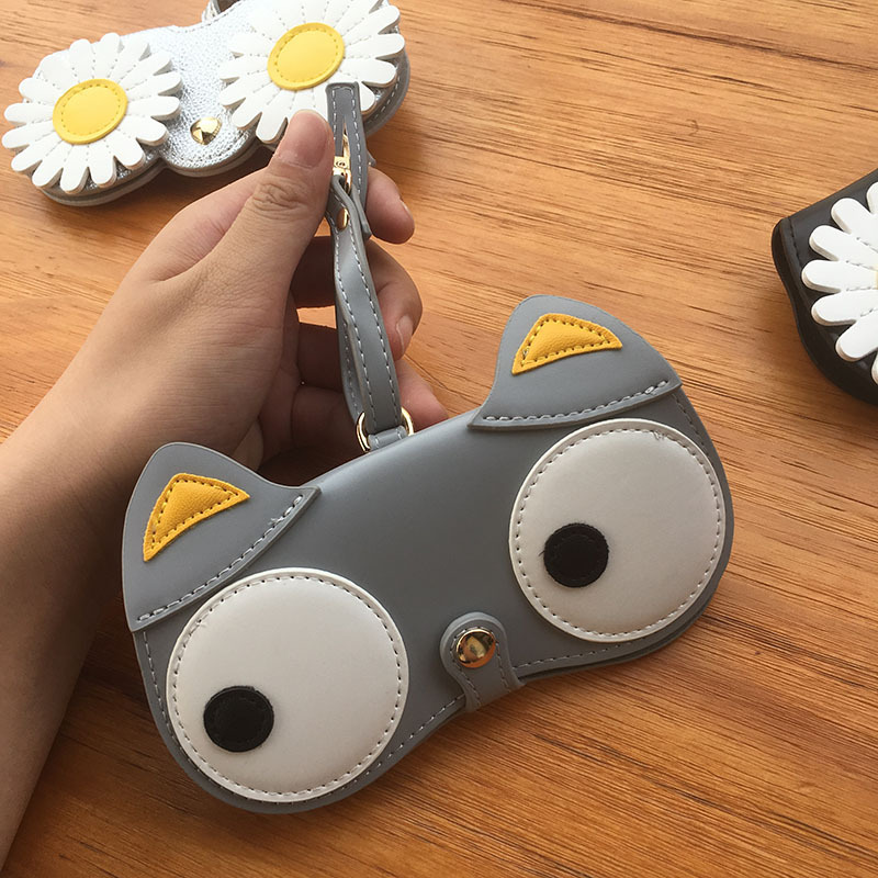 2020 New Dropshipping PU Leather Eyeglasses Case Ins Popular Cute Cartoon Animal Women Sunglasses Protection Unique Glasses Bags