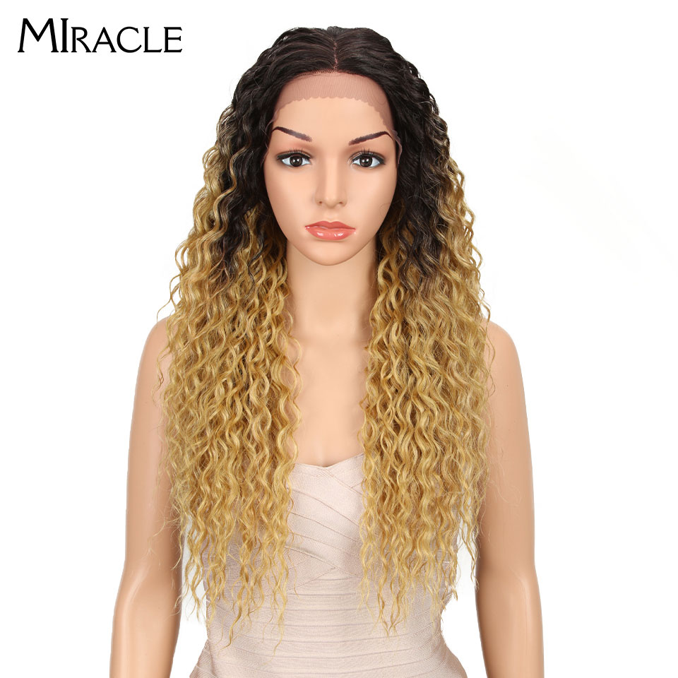 Miracle Hair Synthetic Wig Curly High Temperature Fiber Hair 26 Inch Natural Blonde Synthetic Lace Front Wigs For Black Women