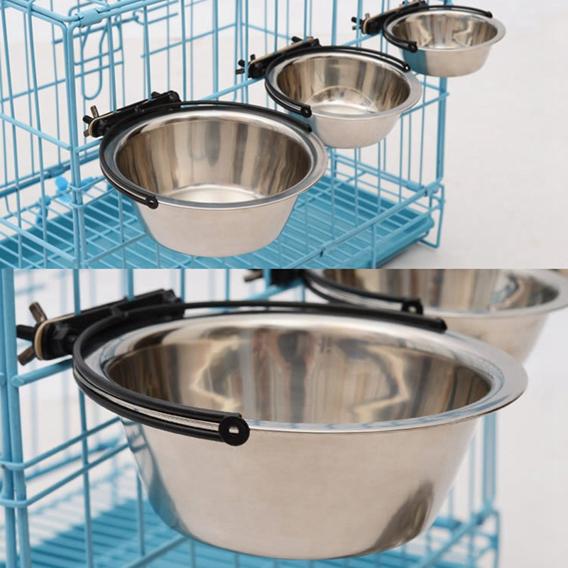 Pet Removable Cage Hanging Stainless Steel Feeder Durable Dog Water Food Bowl 4 Size