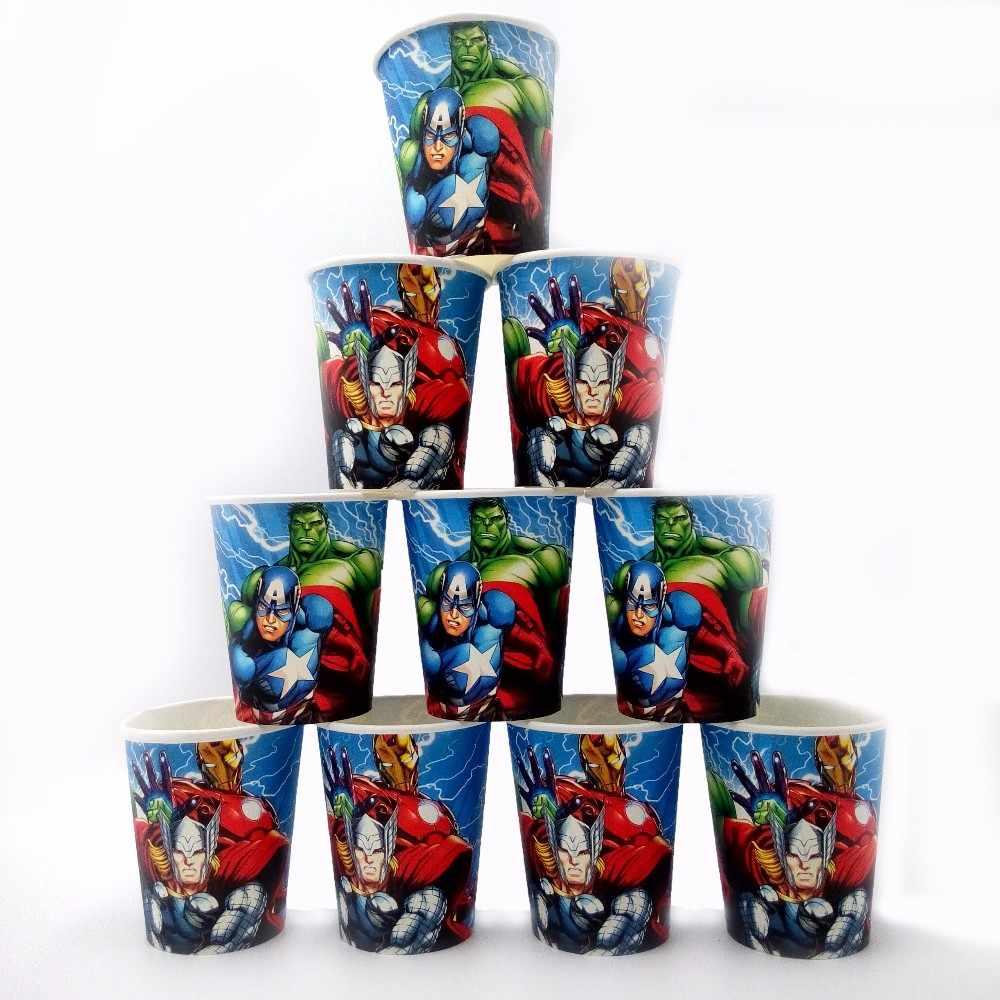 10 sztuk Avengers Party Supplie dekoracja urodzinowa Superhero Hulk Ironman jednorazowy kubek papierowy na Baby Shower Favor