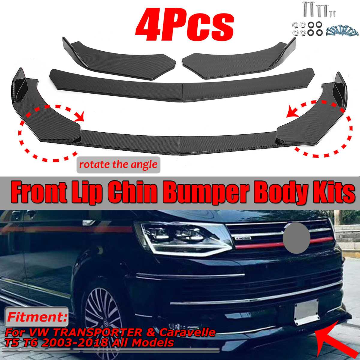 4PCS Universal Car Front Bumper Splitter Lip Diffuser Chin Bumper Body Kits For Benz For BMW For Honda For Ford For Audi