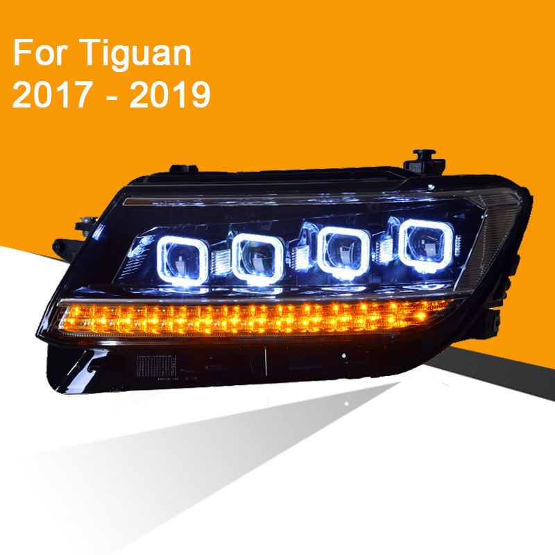 1 Pair LED Headlight Assembly for VW Volkswagen Tiguan 2017 2018 2019 with Full LED DRL High Low Beam Sequential Turning Signal image