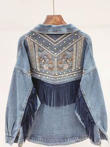 Jacket Women Veste Coat Outerwear Chaquetas Fringe Embroidery Suede Floral Korean Femme