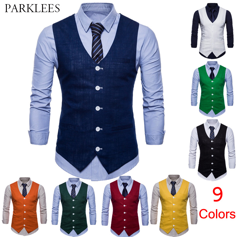 Mens Slim Fit Single Breasted Suit Vest 2018 Brand New Formal Dress Business Wedding Vest Waistcoat Men Solid Color Gilet Homme