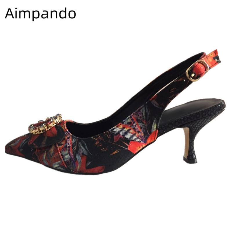 Luxury Flower Printed Wedding Shoes Woman Crystal Buckle Decor Kitten Heel Pointed Toe Party Shoes Slingbacks Pumps High Heels