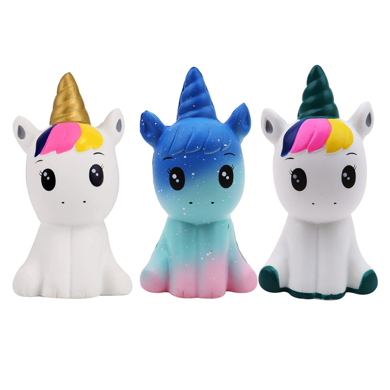 Kawaii Colorful Galaxy Squish Unicorn Toy Squishy Doll Slow Rising Stress Relief Squeeze Toys For Baby Kids Xmas Gift 12*6*5CM