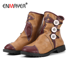 ENMAYER Button Slip-On Round Toe Fur Boots Square Heel PU Short Plush Mixed Colors Shoes Microfiber Flat Orange Snow Women