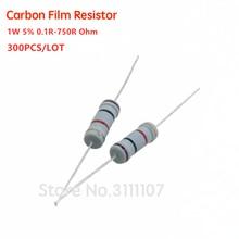 Kit de resistencias de 1W, 300, 30 valores x 10 Uds., resistencia de película de carbono 5%-0,1 Ohm, conjunto 0R1-750R, 1W, surtido de 750 Uds.