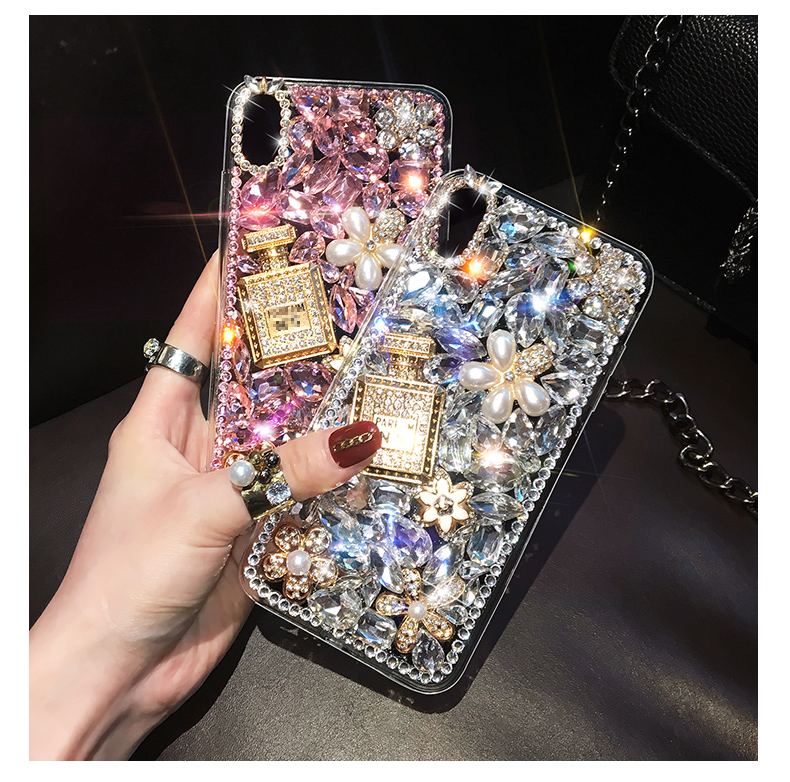 Luxury Diamond Perfum Phone Case For iPhone 11 Pro XS Max XR X 8 7 6 6S Plus Cases For Samsung S10 S9 S8 Plus Note 10 Plus 9 8