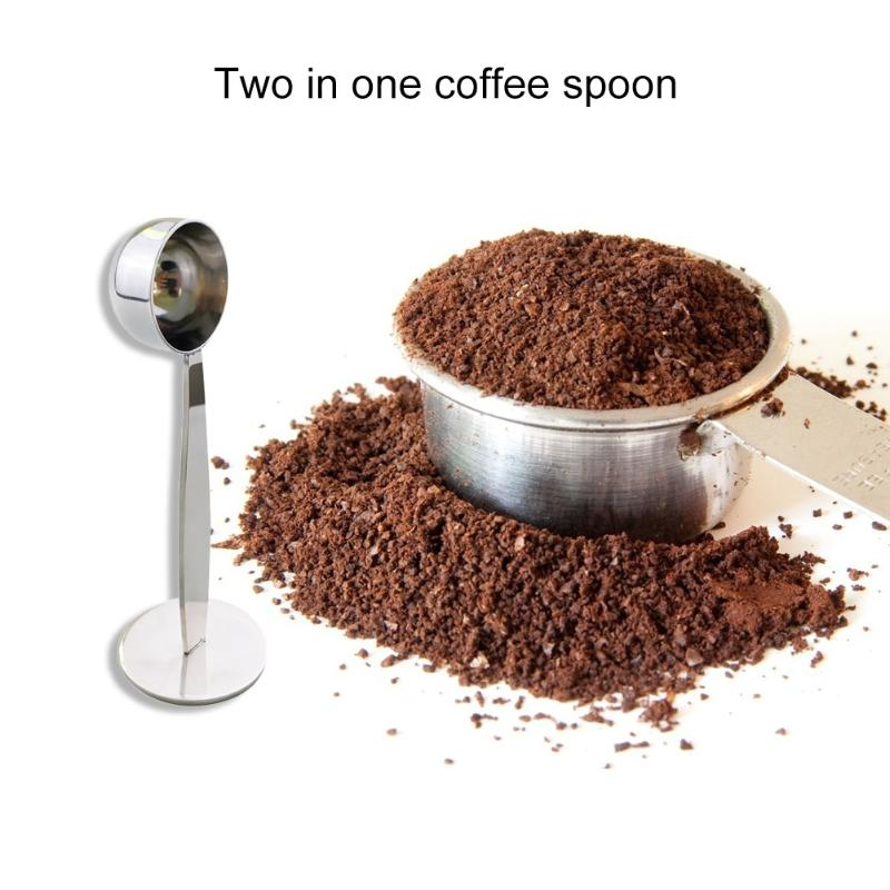 2 In 1 Practical Coffee Tamping Measuring Spoon Stainless Steel Protein Tea Coffee Bean Powder Mashed Measure Scoop