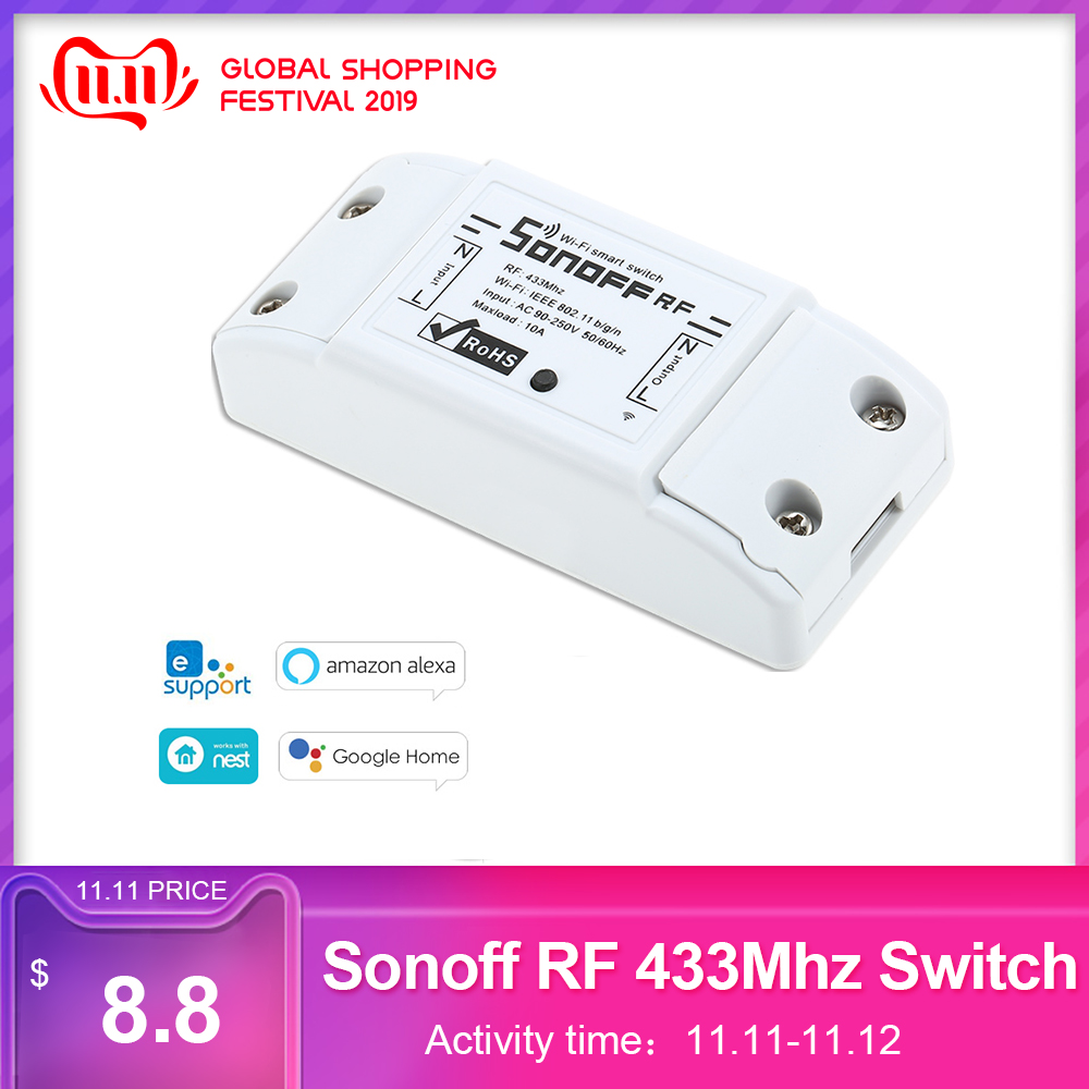 Sonoff RF WiFi Smart Switch 433Mhz Remote Controller DIY Wireless Smart Home Automation Module For Google Alexa 10A 220V