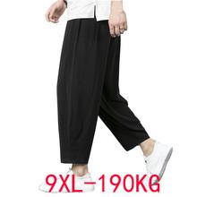 Letnie spodnie na jesień mężczyźni 5XL 6XL 7XL 8XL 9XL 190kg talia 170cm Plus rozmiar bawełniana pościel duże rozmiary luźne spodnie męskie 5 kolory 56 tanie tanio NEFEILIKE summer Proste CN (pochodzenie) COTTON Linen CASUAL Na co dzień Mieszkanie Z KIESZENIAMI LOOSE 3 - 5 Pełna długość
