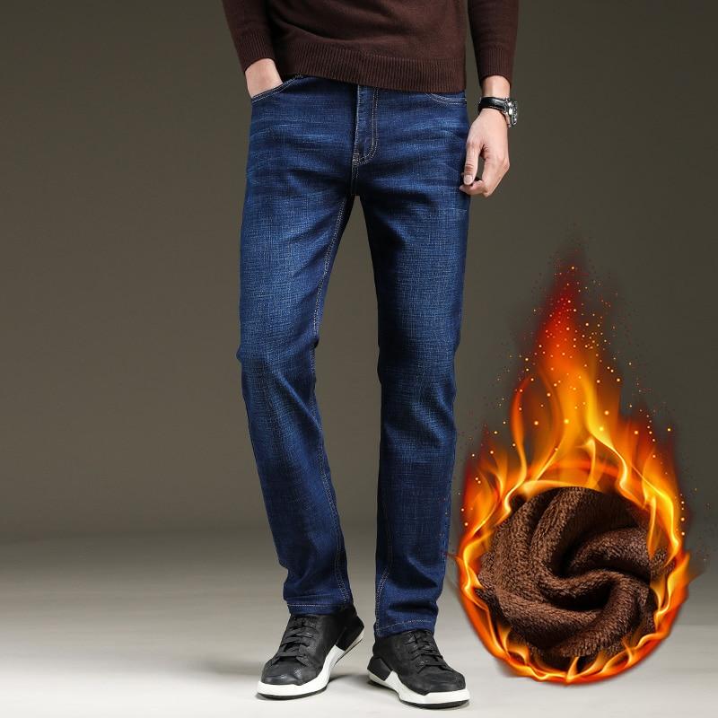 Брендовые мужские зимние Стрейчевые плотные джинсы, теплые флисовые высококачественные джинсовые байкерские джинсовые штаны, брюки, размер 28-40