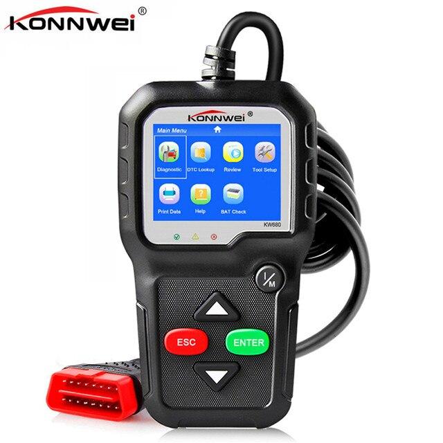 Skaner OBD2 OBD 2 samochodów diagnostyczne automatyczne narzędzie diagnostyczne KONNWEI KW680S rosyjski język skaner samochodowy narzędzia skaner diagnostyczny