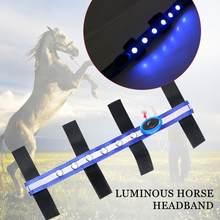 Pferd Kopf Straps Pferd Zügel LED Turnier Horseman Blau Polyester Sport Outdoor Praktischen Reit Reins Durable Tragbare