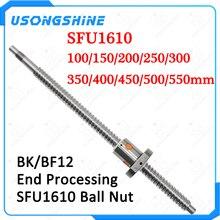 SFU1610 vidalı çubuk C7 ballscrew 100 150 200 250 300 350 400 450 500 550 mm ile bir 1610 flanşlı tek somun CNC parçaları
