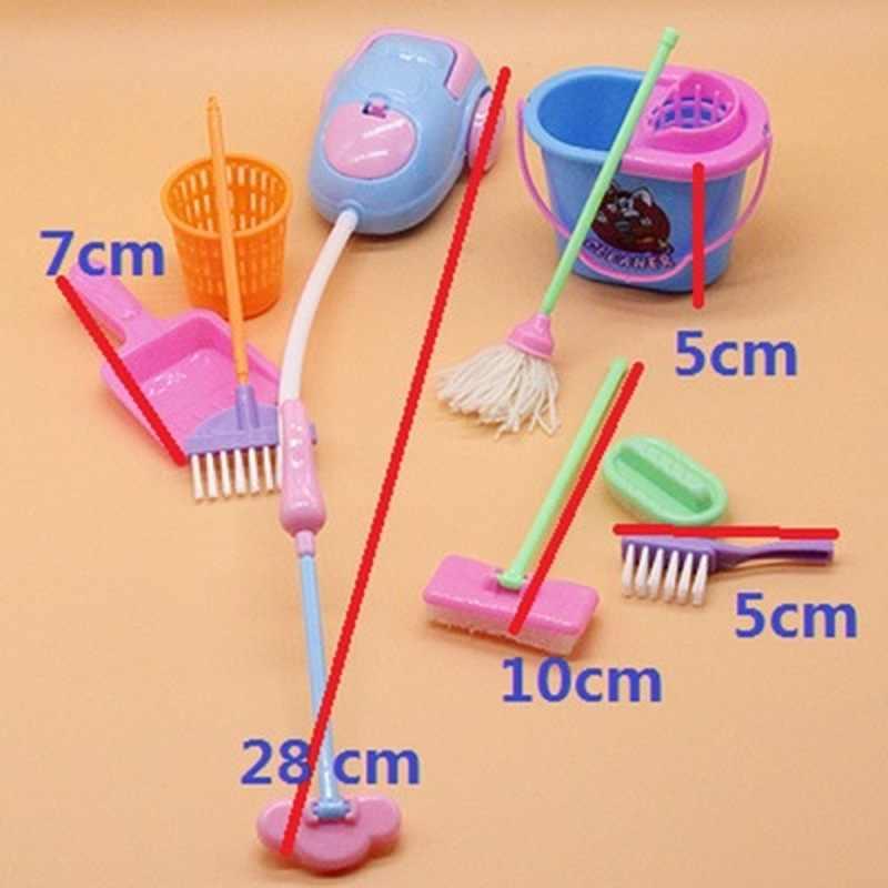 מיני בובת אביזרי מיני מטאטא סמרטוט פח אשפה ביתי ניקוי כלים עבור בובת בית ילדים חינוכיים צעצוע 9 יח'\סט