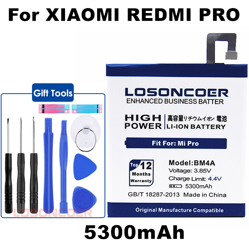 LOSONCOER Top 5300mAh BM4A Mobile Phone Batteries For Xiaomi Hongmi Redmi Pro Battery