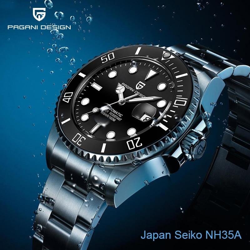 PAGANI DESIGN Japan NH35A Automatic Mens Watches Mechanical Stainless Steel Wristwatch Mens Waterproof Clock Male Sapphire Watch|Mechanical Watches| - AliExpress