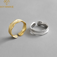 XIYANIKE 925 Sterling Silver Korean INS Simple Wave Pattern Inlaid Zircon Rhinestone Ring Temperament Sexy Elegant Ring Gift