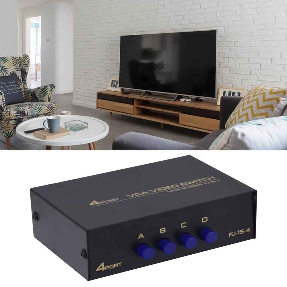4 Ports Metal VGA HDMI Splitter Box Stable Hub Sharing KVM Switch Displayport Accessories Plug And Play USB 2.0 For Computer