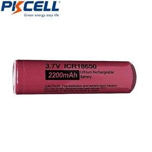Image 2 - 4Pcs 3.7 V Li Leone Batteria PKCELL ICR 18650 3.7 Volt 2200mAh Batteria Ricaricabile