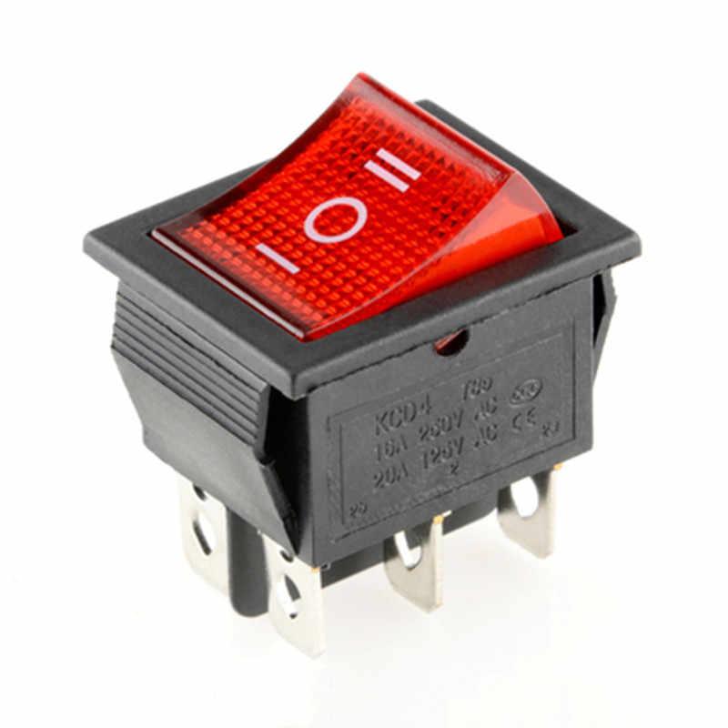 KCD4 ロッカースイッチの電源スイッチ 2 位置/3 位置 6 ピン電気機器光 16A 250VAC/ 20A 125VAC 1 個