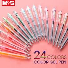 M & g caneta retrátil em 24 cores, caneta gel retrátil, tinta 0.5mm, caneta de gel japonesa, coreana gelpen para material escolar