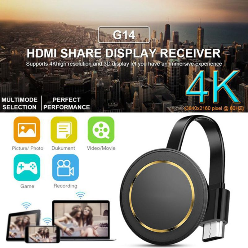 G14TV Stick 5GWireless Screen Projector 4K Wireless WiFi Display Dongle Ezcast Airplay HDMI Google Chromecast Cast For Youtube,1