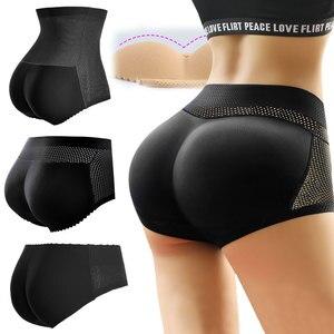 Hip Sponge Padded High Waist Panties Fake Ass Enhancer Butt Lifter Briefs Seamless Tummy Shaper Push Up Butt Pad Panty