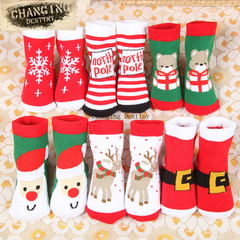 Christmas Theme Children's Cotton Cartoon Jacquard Baby Sweat-absorbent Breathable Socks (one Size)