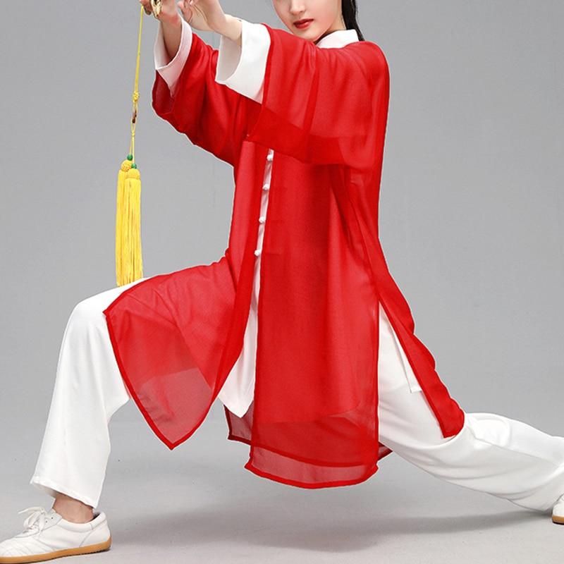 2019 Jiu Jitsu Wushu Kung Fu Uniform Tai Chi Suit Chiffon Silk Martial Arts Performance Suit Leisure Shawls For Men And Women