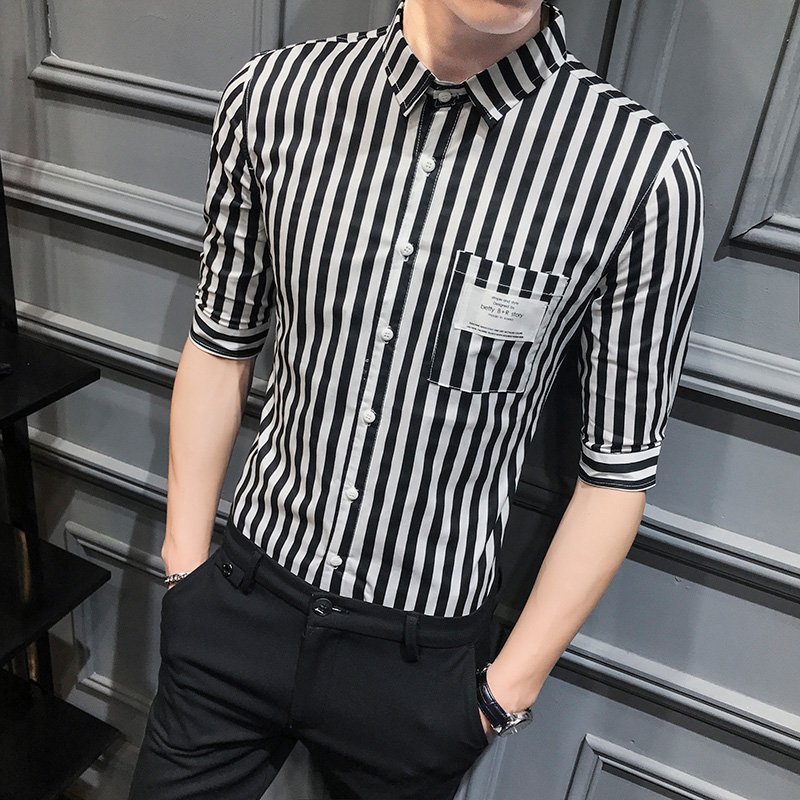 Brand New Summer Half Sleeve Men Striped Shirts 2020 Hot Sale Young Man Work Shirt Men Slim Fit All Match Casual Blouse Homme