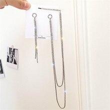 FYUAN Korean Style Rhinestone Asymmetry Earrings Bijoux Gold Silver Color Long Chains Drop for Women Jewelry Gifts