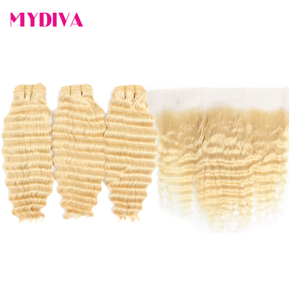 613 Bundles With Frontal Brazilian Deep Wave 3 Bundles With Closure Remy Human Hair Blonde Bundles With Frontal Closure Mydiva image