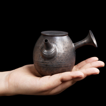 180ml Bronze gilded Japanese style rough pottery teapot domestic Kungfu teapot