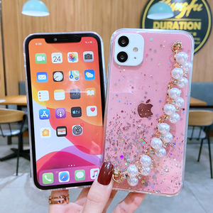Image 4 - Shiny Glitter Pearl Bracelet Chain Case for Samsung Galaxy A12 A32 A42 A52 A72 A22 A82 4G 5G Coque Soft Silicone Cover