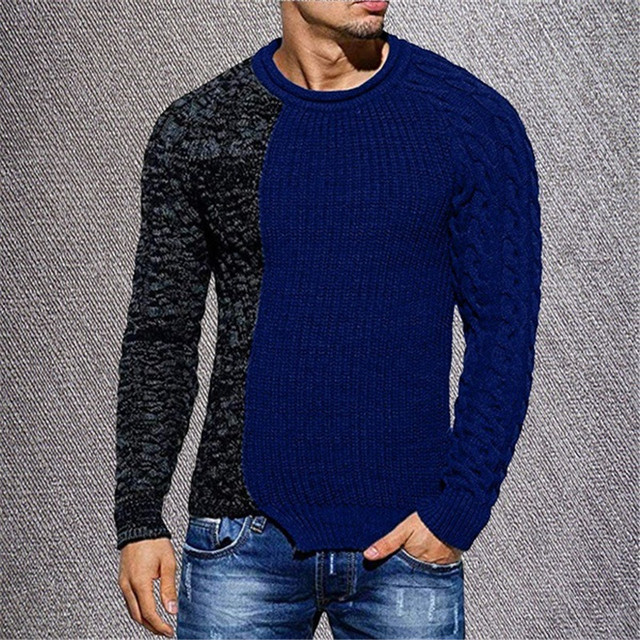Sweater Men's Fashion Trend Slim O-neck Long-sleeved Sweater Wild Casual Color Matching Headgear Men's Sweater