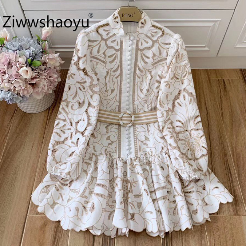 Ziwwshaoyu 2020 New Designer 100% Linen Women's Mini Dresses Hollow Embroidery Pleated Fashion Party Dress + Belt