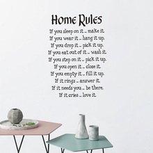 цена на Chinese Factory Design House Rules Wall Stickers Large Wall Decals Text For Living Room Bedroom Home Decor Wall Sticke Wallpaper