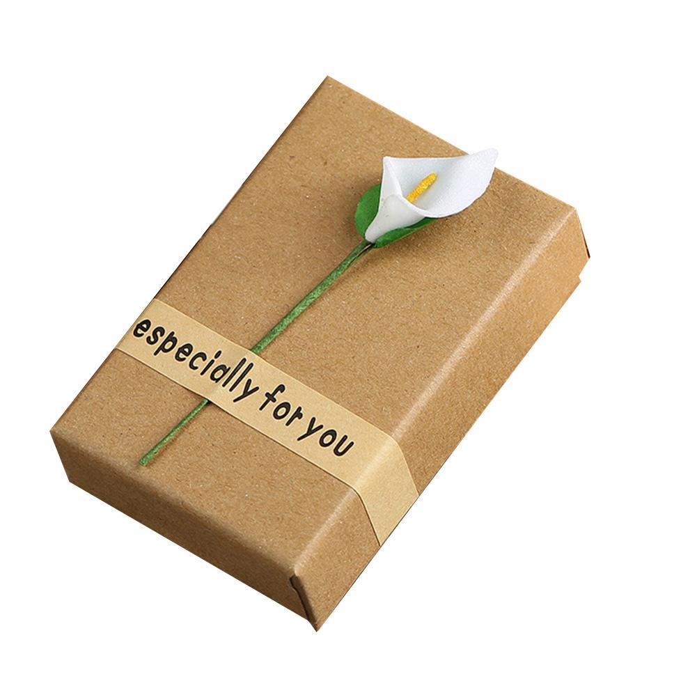 BLUELANS Retro Kraft Paper Jewelry Box Women Ring Necklace Bracelet Storage With Flower Valentine Gift Boxes