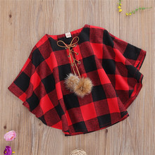 Outwear Clothing Coat Spring Baby-Boys-Girls Autumn Infant Cloak Plaid Decoration Fur-Ball-Strap